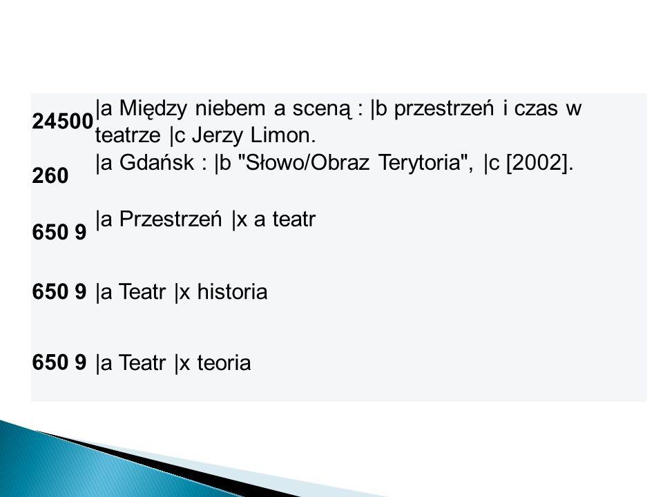24500 |a Między niebem a sceną : |b przestrzeń i czas w. teatrze |c Jerzy Limon. 260. |a Gdańsk : |b Słowo/Obraz Terytoria , |c [2002].